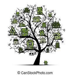 boompje, met, groene, huisen, op, takken