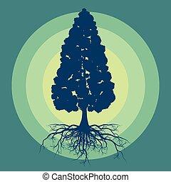 boompje, met, wortels, vector, abstract, achtergrond, concept, met, ouderwetse