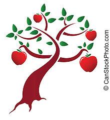 boompje, ontwerp, appel, illustratie