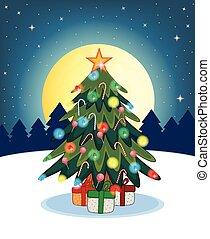 boompje, ontwerp, kerstmis, jouw