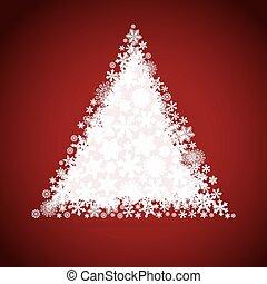 boompje, ontwerp, kerstmis, sneeuwvlok, achtergrond.