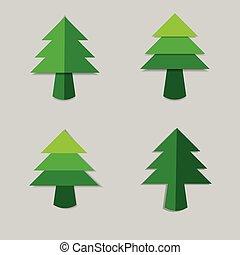boompje, papier, kerstmis, schaduw, groene
