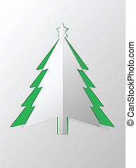 boompje, papier, kerstmis, vector, uitsnijden