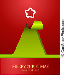 boompje, papier, teared, kerstmis, bovenzijde, ster