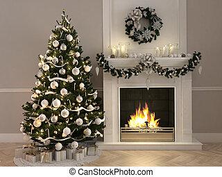 boompje, rendering., scène, verfraaide, fireplace., kerstmis, 3d