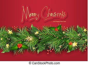 boompje, rood, kerstmis, achtergrond, takken
