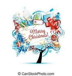 boompje, schets, ontwerp, jouw, kerstmis