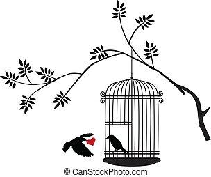 boompje, silhouette, met, het vliegen van de vogel