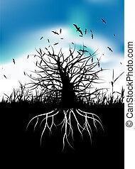 boompje, silhouette, met, wortels