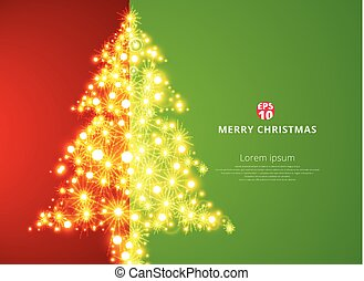 boompje, space., verlichting, achtergrond, groene, kopie, kerstmis, rood