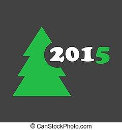 boompje, -, stylized, wensen, jaar, nieuw, kerstmis