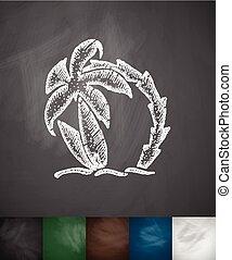 boompje, twee, illustratie, hand, vector, palm, getrokken, ...
