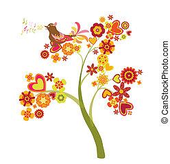 boompje, van, bloemen