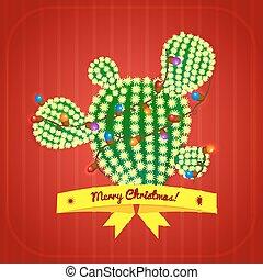 boompje, vector, cactus, kerstmis, illustratie
