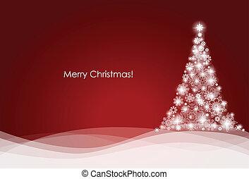 boompje, vector, illustration., achtergrond, kerstmis
