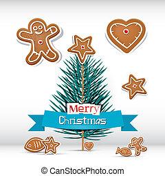 boompje, -, vector, retro, tak, kerstmis kaart