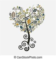 boompje, vector, symbool, met, gekrulde, wortels