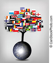 boompje, vlaggen, met, aardebol