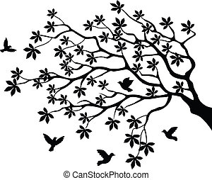 boompje, vliegen, silhouette, vogel