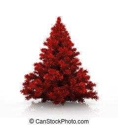 boompje, vrijstaand, achtergrond, witte kerst, rood