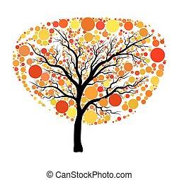 boompje, vrijstaand, herfst, vector, achtergrond, witte