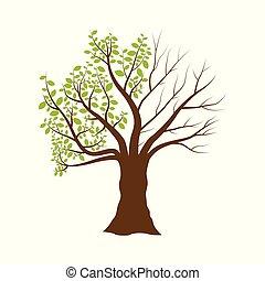 boompje, vrijstaand, illustratie, vector, achtergrond, witte