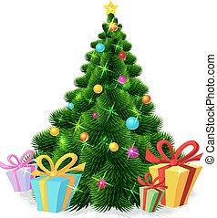 boompje, -, vrijstaand, vector, il, kerstmis