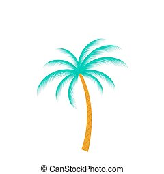 boompje, vrijstaand, vector, palm, achtergrond, witte