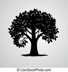 boompje, vrijstaand, vector, zwarte achtergrond, witte