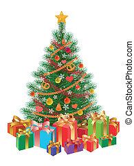 boompje, vrijstaand, wirh, kadootjes, verfraaide, kerstmis