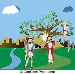 boompje, zien, klom, zacchaeus