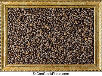 boon, koffie, side., achtergrond, aanzicht, fotolijst, concept, mooi