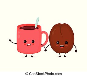 boon, vrolijke , schattig, het glimlachen, koffie, gekke