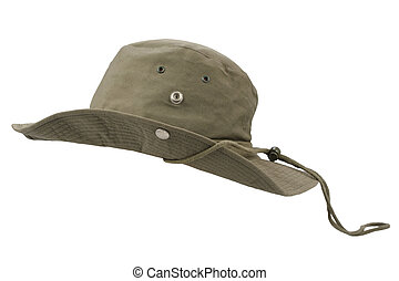Boonie hat olive drab pattern isolated on white background