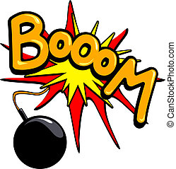 "Booom - A bomb explodes in a loud round ""Boom\"", vector"