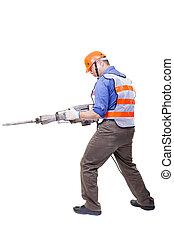 boor, pneumatisch, vrijstaand, hamer, uitrusting, arbeider, ...