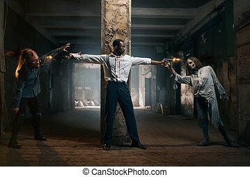 boordgeschut, monsters, spruiten, twee, zombies, kwaad, man