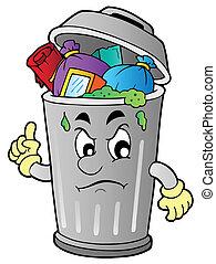boos, afval, spotprent, groenteblik