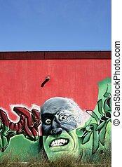 boos, beton, graffiti, verticaal, man, op