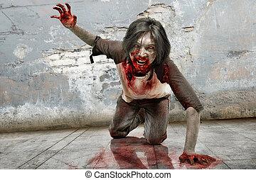 boos, bloedig, zombie, mond, kruipen, man