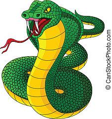 boos, cobra, spotprent