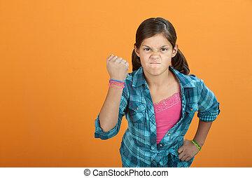 boos, dapper, klein meisje