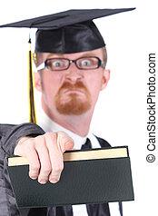 boos, jonge, afgestudeerd, man
