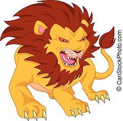 boos, leeuw, spotprent