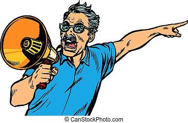 boos, man, megafoon, bejaarden