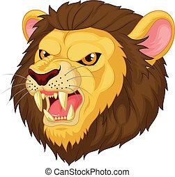 boos, mascotte, hoofd, leeuw, spotprent