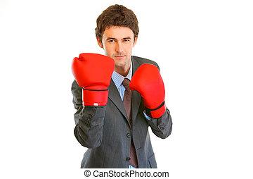 boos, moderne, zakenman, met, boxing handschoenen