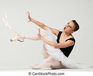 boos, op, ballerina, jonge, zittende , fed, vloer, danser