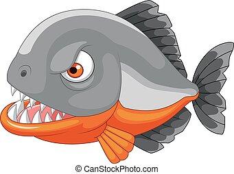 boos, spotprent, piranha