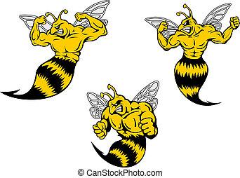 boos, spotprent, wesp, of, hornets, met, een, steken